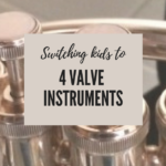 This article discusses 3 practical options for switching your low brass players from 3 valve instruments to 4 valve instruments. A great read for tuba and baritone or euphonium teachers. Band directors will find this information helpful if you are new to teaching low brass class! Practical solutions for your low brass teaching problems! #beginningband #beginningbrassclass #lowbrassplayers #teachingeuphonium teachingebaritone #teachingtuba #teachingband #middleschoolband
