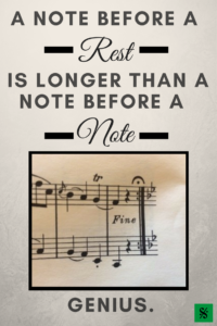 """A note before a rest is longer than a note before a note."" Click here for more great band teaching ideas, tips and tricks for middle school and high school band directors such as rehearsal techniques, woodwind, brass and percussion pedagogy, music classroom organization, band warmups and technique exercises, motivational and recruiting ideas, instrument maintenance, beginning band ideas, music games and activities, band sub plans and more! BandDirectorsTalkShop.com"