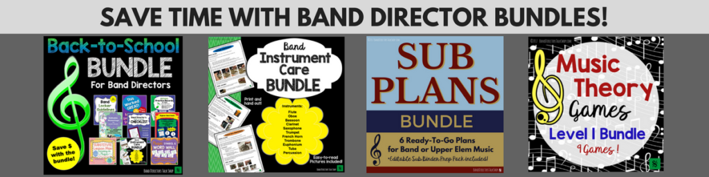Band Director Resources, rehearsal ideas, beginning band ideas, music theory games, music sub lesson plans and more!