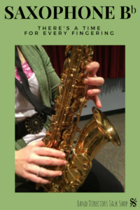 """Do you have a hard time determining which saxophone B flat to tell your beginner students to use and when? Concert band directors and saxophone private lesson teachers will benefit from the excellent teaching tips in this article. A very easy-to-read, short explanation from a professional saxophonist and teacher. The 3 fingerings discussed are bis Bb, side Bb and """"1&1"""" but some call it the """"1&4"""" fingering. For more info on teaching woodwinds, brass, percussion, visit BandDirectorsTalkShop.com"""