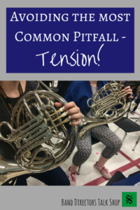 """The most common problem that band teachers come across when working with brass players is tension. However, to make a beautiful sound on a brass instrument there has to be a complete lack of tension. """"Tension is the enemy!""""  Learn how to address common brass playing problems such as a thin, pinched sound, tightness in the jaw and improper air support with great tips from this article.  Excellent tips for trumpet, French Horn, , trombone, euphonium and tuba teachers."""