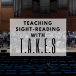 Teach your band students how to improve their sight-reading skills by implementing the rehearsal techniques discussed in this article! Band directors and private lesson teachers will learn how to address time signature, accidentals, key signature, ensemble and style by implementing the T.A.K.E.S method. Try it, it works! #banddirectorproblems #banddirector #bandteacher #bandensemble #bandrehearsal #bandteaching #sightreading #sightreadingskills
