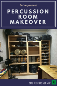 Are you wanting to keep percussion equipment from getting lost or damaged? Do you want your percussionists to take more pride in their instruments? Are you limited on band room space and need to make the most of it? Click for some practical solutions on how to turn your practice room into an organized percussion room!  Ideas for properly storing mallets, drums, sticks, cymbals, drum pads and auxiliary percussion instruments.  Use a pegboard for a great wall solution!
