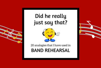 Add some humor to your band rehearsal! Band teachers, here are 20 analogies to use with your band that you have never used! Band humor goes a long way- engage your students and motivate them to love band with these funny quotes and ideas! Perfect for middle school or high school band directors or private lesson teachers. #banddirectorhumor #bandhumor #bandrehearsaltips