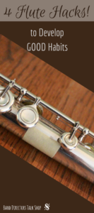 4 quick and easy flute hacks for band directors and private lesson teachers to implement NOW! These tips and tricks will help you teach your beginning flute class and will save you time. Flute players will love the success they see when using these simple tips. #beginningband #beginningfluteclass #fluteplayers #teachingflute #teachingband #middleschoolband