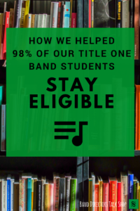 Do you teach band in a title one school and have trouble with student eligibility?  Discover some great tips for keeping your students on track in this article.  Learn how to check grades weekly, distribute progress reports, conduct weekly student conferences and improve student accountability. A must-read for band directors!  For more great band teaching ideas, rehearsal tips and beginning band games and resources, visit our blog: Band Directors Talk Shop.