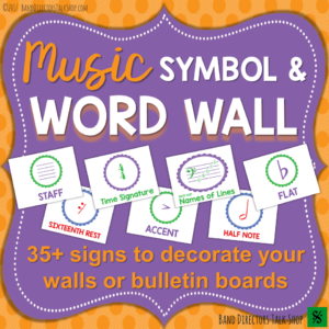 Music Symbols and Terms Word Wall Bulletin Board Set.   Great for decorating the walls of your band, orchestra, choir or elementary music room  ,