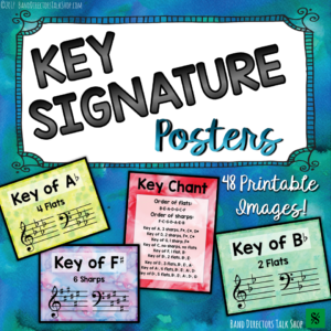 Help your students learn and memorize their key signatures with these beautiful key signature posters!  They can also be used as giant flash cards.  Perfect for band, choir, orchestra, piano and upper elementary students. Also, add color to your classroom by putting these on your music room bulletin boards!