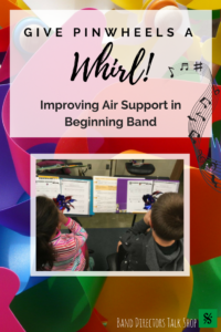Proper air support is a crucial skills to a wind player's success. This inexpensive item will help your middle school band students' breathing techniques and method.  Using pinwheels for breathing is not only fun, but effective! Your beginning band class will have fun while learning to play their instrument with proper air support and control. Learning to take deep, relaxed breaths while using a focused air stream is essential! Also a great tool for learning how to tongue on an instrument.